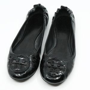 TORY BURCH~reva logo~BALLET FLATS~Black~SIZE 8